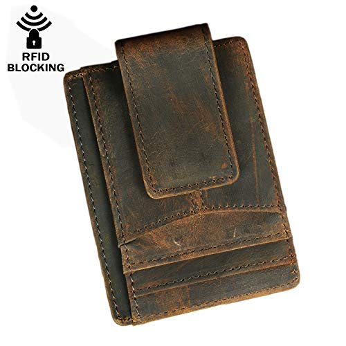Le'aokuu RFID Leather Minimalist Slim Wallet Front Pocket Card Case Money Clip (A Dark Brown)