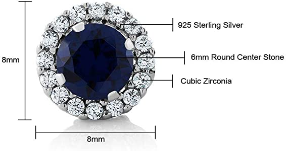 Sterling Silver Rhodium 9x7mm Oval Cut Sapphire /& Clear Cubic Zirconia 18+2 Necklace