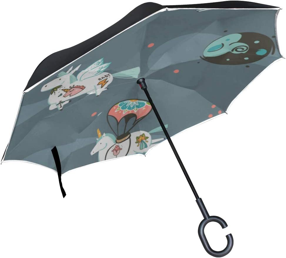 Double Layer Inverted Inverted Umbrella Is Light And Sturdy Graphic Creative Reverse Umbrella And Windproof Umbrella Edge Night Reflection