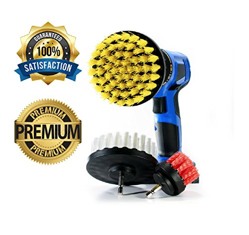 Complete set of Power Scrubbing Brush Drill Attachment for Cleaning Showers, Tubs, Bathrooms, Tile, Grout, Carpet, Tires, Boats - Soft, Medium and Stiff bristle