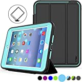 SEYMAC Stock iPad Mini Case [iPad Mini 1/2/3 Case](Not for mini4) Full Body [Shock Proof for Kids Case ] Smart Cover with Auto Sleep Wake and Leather Stand Feature for iPadMINI1/2/3 Case (Light Blue)