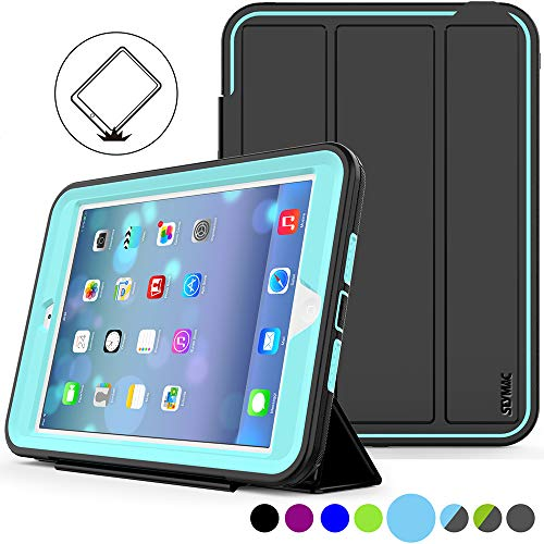 SEYMAC Stock iPad Mini Case [iPad Mini 1/2/3 Case](Not for mini4) Full Body [Shock Proof for Kids Case ] Smart Cover with Auto Sleep Wake and Leather Stand Feature for iPadMINI1/2/3 Case (Light Blue) (Ipad 2 Mini Case Kid Proof)
