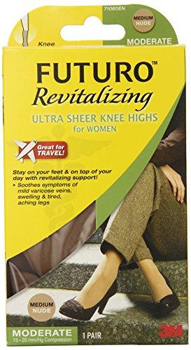 Futuro Revitalizing Ultra Sheer Knee Highs, Nude, Medium, Mo