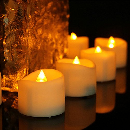 Wavy open amber yellow flicker flameless led mini tea light with timer (6 Hrs on 18 Hrs off) 200 Hours Battery Powered Timed Warm Glow Small Fake Votive Candle For Halloween Thanksgiving Day 24 PCS