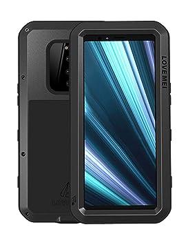 Fonrest Completo Funda para Sony Xperia 1, Love Mei 6,5-Pulgada Antichoque Al Aire Libre Híbrido Aluminio Metal Antipolvo Carcasas con Vidrio ...