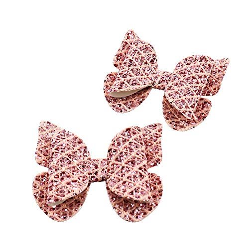 5 Pcs 3.1x2.8 Inch Glitter Hair Bow Fabric Without Hairclip- Butterfly Hair Bows for Girls- Glitter Butterfly Synthetic Leather Bow-Knot for DIY Craft Project- DIY Handmade Materials (Pink) ()