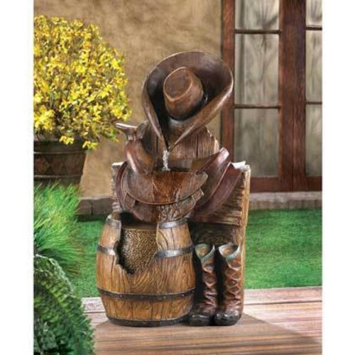 western country cowboy boot horse saddle Statue birdbath Outdoor Garden Fountain by Unique's Shop