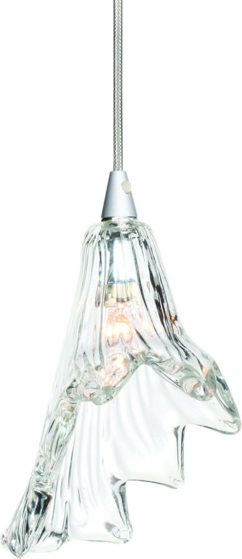 Floral style glass pendant Silver metal finish Orchid III Series