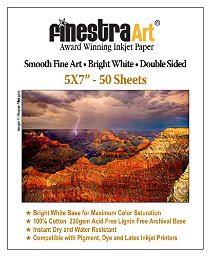 - 5x7 230gsm Smooth Fine Art Archive Bright White Double Sided 50 Sheets