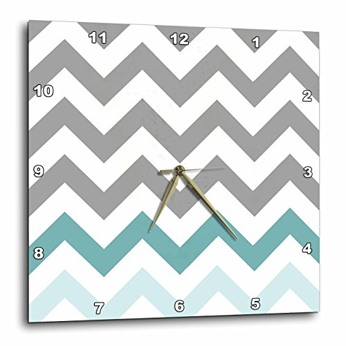 3dRose dpp_179811_2 Grey Chevron with Mint Turquoise Zig Zag Accent Gray Zigzag (Gray Clock Plate)