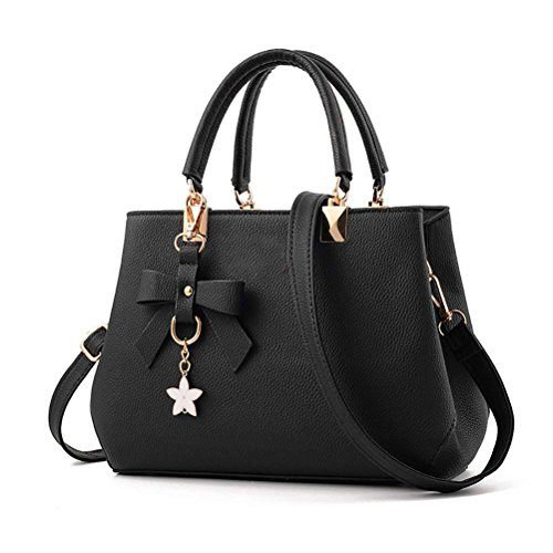 Flintronic Women's Handbags, Leather Handbags New Women Pu Handbag Easily Satchel Shoulder Messenger Bag, Work, Daily Life And Holidays, Persimmon (# 4 Khaki) No. 1 Black