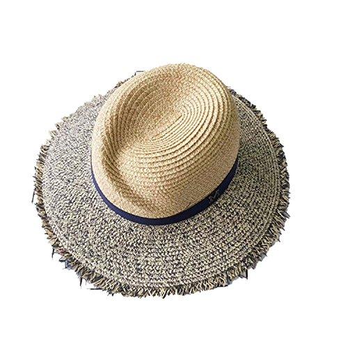 iday raw straw hatstide sunshade hatsalong the hat sunscreen,Tibetan blue ()