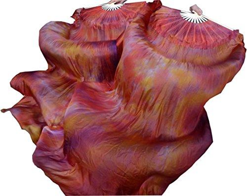 Winged Sirenny 1 Pair (1R+1L) 1.8m0.9m 3G Light& Sturdy Belly Dance Silk Fan Veil, Real Silk (Dance Worship Costumes)