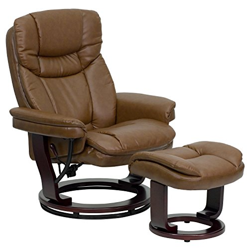 (Flash Furniture Contemporary Palimino Leather Recliner and Ottoman with Swiveling Mahogany Wood Base)