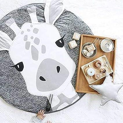 Wohnzimmer Spieldecke f/ür Schlafzimmer JYCRA Runder Teppich Kinderzimmer Dekoration Baumwolle Diameter 90CM Cartoon-Tier-Teppich Fuchs Krabbelteppich Baby-Baumwolle