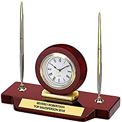 DINN BROS., INC. THE TROPHY PEOPLE Personalized Rosewood Double Pen Desk Set with Clock Award Gift | Free Custom Engraving