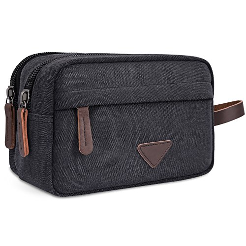 External Compartment Pocket Color (Miracu Mens Canvas Cosmetic Bags, Travel Toiletry Bags Shaving Dopp Kits with Double Compartments)