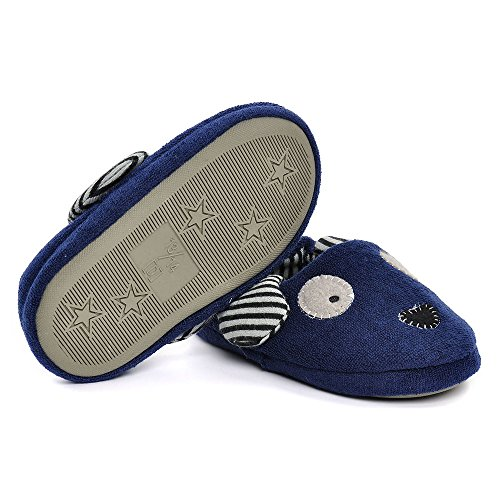 Pictures of Toddler Boys Girls Doggy Slippers Plush Warm Cartoon Puppy Indoor Bedroom Shoes, Navy US 6-7 M 4