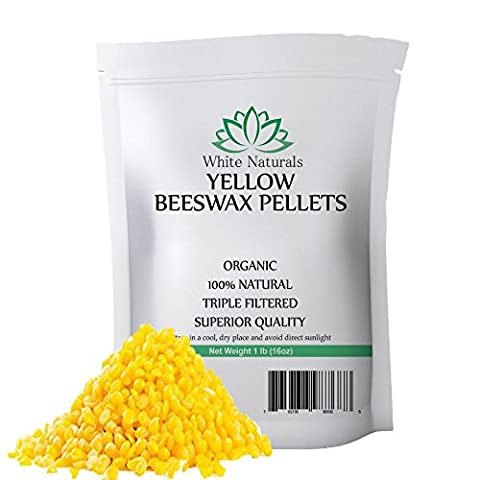 ONE DAY SALE! Organic Yellow Beeswax Pellets 1 lb (16 oz), Pure, Natural, Cosmetic Grade, Top Quality Bees Wax Pastilles, Triple Filtered, Great For DIY Lip Balms, Lotions, Candles By White Naturals