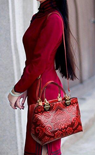Longzibog Dual verstellbare Schultergurte und Hängeschlaufenband Mode Simple Style Fashion Tote Top Handle Schulter Umhängetasche Satchel Grün