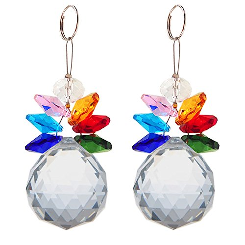 Newmerry Snowman Rainbow Crystal Suncatcher Window Car Ornaments 3 Inch,Pack of 2