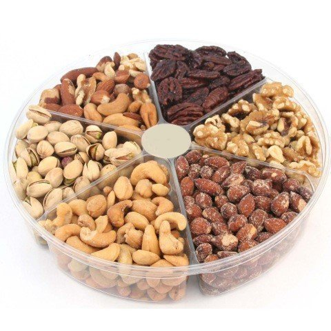 California Natural Nuts Freshly Roasted Nut Gift Tray 2 Lbs Delicious Salted Almonds, Buttery Cashews, Tasty Pistachios, Savory Mixed Nuts, Chocolate Covered Almonds, Walnuts, Pecan (2 POUNDS) (Mixed Nuts Gift)