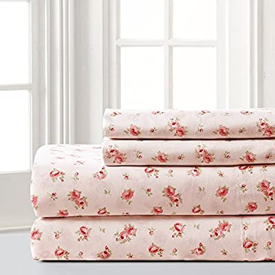 Amrapur Microfiber Sheet Set | Luxuriously Soft 100% Microfiber Rose Printed Bed Sheet Set with Deep Pocket Fitted Sheet, Flat Sheet and 2 Pillowcases , 4 Piece Set,  Full - SET INCLUDES: (1) Flat sheet, (1) Fitted sheet, (2) Pillowcases. MATERIAL: Made with 100% microfiber polyester. FEATURES: The microfiber brushed yarns are luxuriously soft and feel like high thread count sheets. Each piece is printed with a classic, elegant Rose pattern. - sheet-sets, bedroom-sheets-comforters, bedroom - 51FE39Z3USL. SS400  -