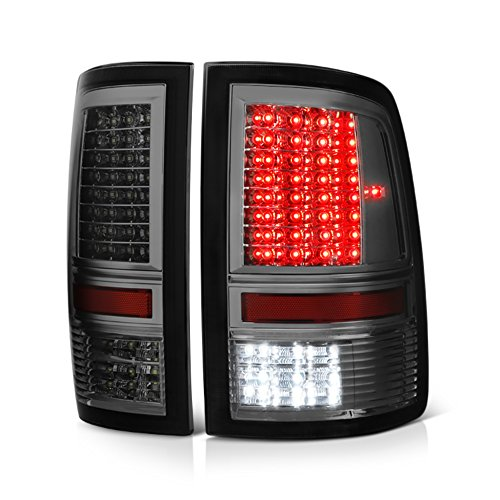 VIPMOTOZ Full-LED Tail Light Lamp For 2009-2018 Dodge RAM 1500 2500 3500 - [Factory Incandescent Model] - Metallic Chrome Housing, Smoke Lens, Driver & Passenger Side