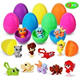 Easter Eggs Toys, 12 Pieces DIY Mini Assembling Block Toys Pre-filled in Easter Eggs; Assorted Cartoon Collection for Easter Theme Party Favor, Easter Eggs Hunt, Basket Filler, Classroom Prize Supplies.