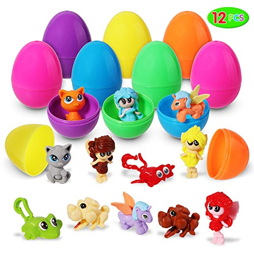 Easter Eggs Toys, 12 Pieces DIY Mini Assembling Block Toys Pre-filled in Easter Eggs; Assorted Cartoon Collection for Easter Theme Party Favor, Easter Eggs Hunt, Basket Filler, Classroom Prize Supplies. ()