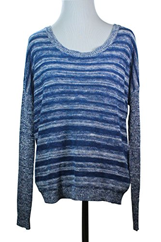 Eileen Fisher Denim Stripe Scoop Neck Knit Top Sweater Pullover, Denim, (Eileen Fisher Stretch Organic Cotton Top)