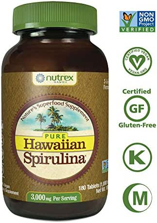 Pure Hawaiian Spirulina-1000mg Tablets 180ct - Natural Premium Spirulina from Hawaii - Vegan, Non-GMO, Non-Irradiated - Superfood Supplement & Natural Multivitamin