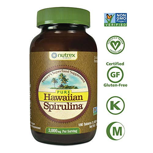 - Pure Hawaiian Spirulina-1000mg Tablets 180ct- Better than Organic - Vegan, Non-GMO, Non-Irradiated - 100% Hawaii Grown - Superfood Supplement & Natural Multivitamin