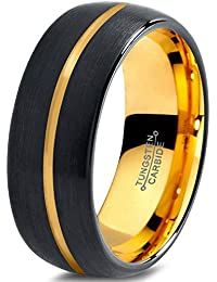 Tungsten Wedding Band Ring 8mm for Men Women Black & 18K Yellow Gold Center Line Dome Brushed Polished Lifetime Guarantee