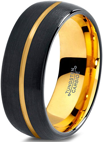 Tungsten Wedding Band Ring 8mm for Men Women Black & 18K Yellow Gold Plated Center Line Dome Brushed Polished, 10
