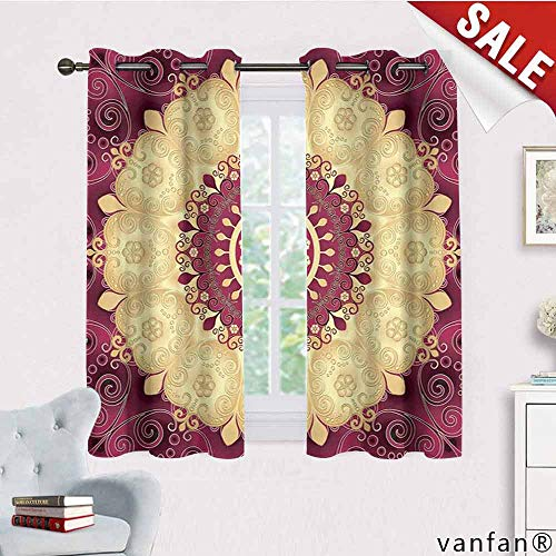 - LQQBSTORAGE Mandala,Window Curtain Fabric,Vintage Floral Mandala Image Antique Round Golden Ethnic Leaf Pattern Symmetry,for Bedroom,Dark Fuchsia