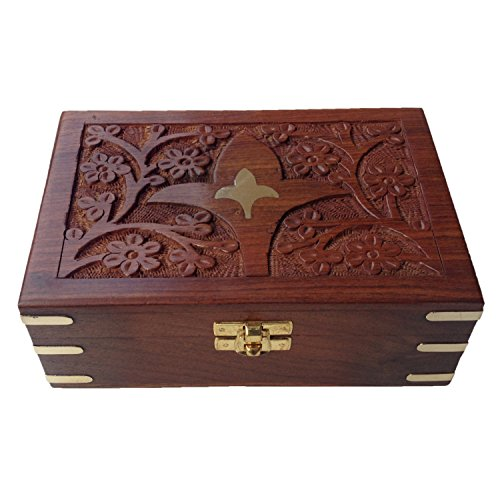 Jaipuri Hand Crafted Velvet Inside Rectangle Rosewood Storage Box