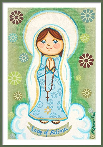 Our Lady of Fatima print Virgin Mary print Catholic print Mother Mary print Madonna print Virgin Mary art Catholic wall art Virgin Mary painting Catholic painting Girl first communion gift for girl ()