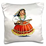 3D Rose Print of Retro Mexican Doll in Native Dress Pillow Case, 16'' x 16''