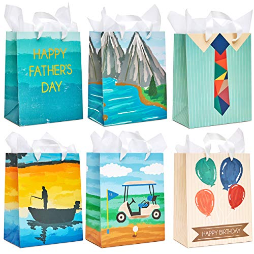 Day Gift Wrap - Juvale 12-Pack Gift Bags with Tissue Paper - Birthday and Fathers Day Designs, 10 x 8 x 4.5 Inches