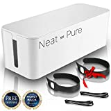 Large Cable Management Box – Power Cord Cover Organizer for TV, Computer, Office + 2 Cable Ties and Cable Clips for Maximum Safety and Organization – Seamlessly Fits Next to Wall or Desk by Neat&Pure