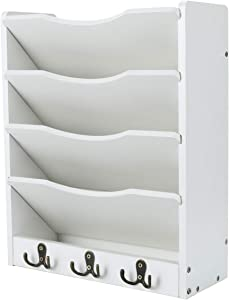 PAG 5-Tier Wall File Holder Hanging Mail Organizer Wood Magazine Literature Rack with 6 Hooks, White
