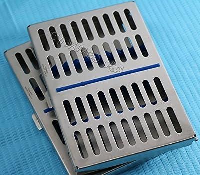 German Steel Set Of 2 Dental Autoclave Sterilization Cassette Rack Box Tray For 10 Instrument