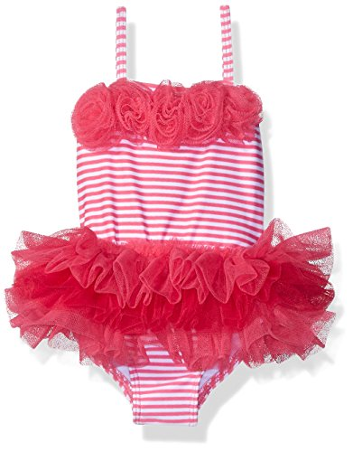 Little Me Baby Girls' One Piece Tutu Swimsuit, Pink/White Stripe, 18 Months