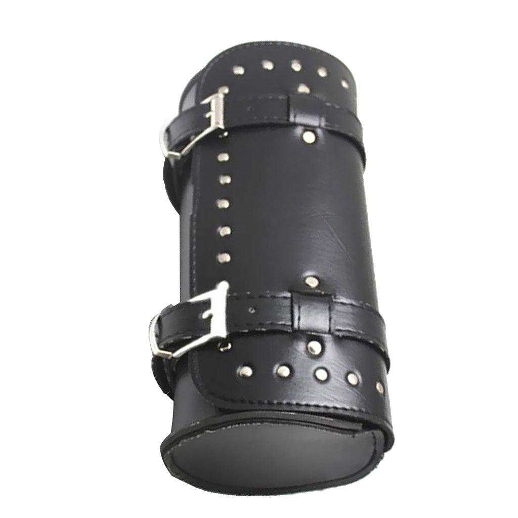 Noir Almencla Sacoche Cavali/ère en Cuir PU pour Harley 28cm de Longueur 13 cm Diam/ètre