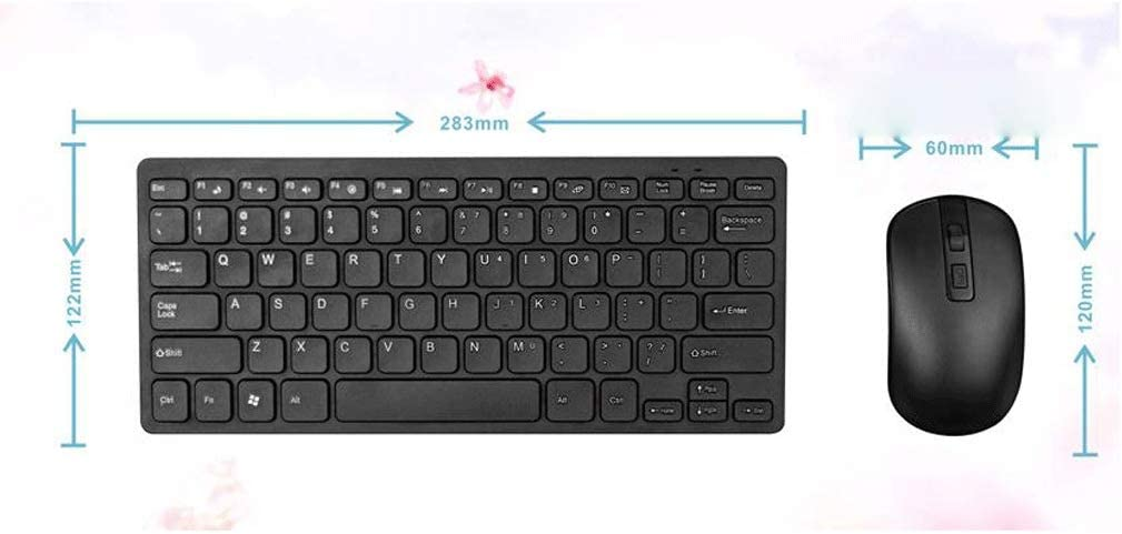 Color : Black 2.4G Wireless Keyboard and Mouse Set Wireless Ultra-Thin Mini Office Mouse and Keyboard