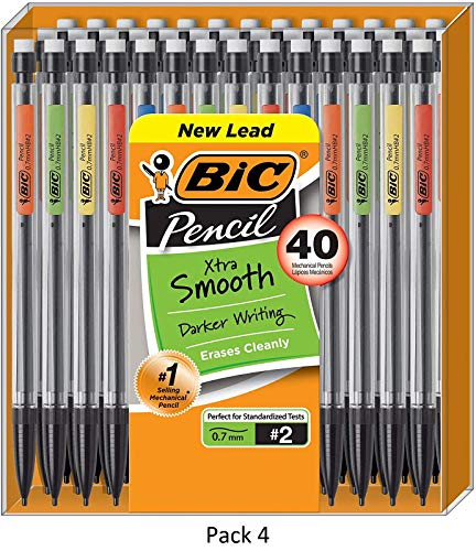 BIC Xtra-Smooth Mechanical Pencil, Medium Point (0.7 mm), 40-Count, 4 Pack