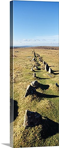 Neolithic Stone Rows on a landscape Merrivale Dartmoor Devon England Gallery-Wrapped Canvas
