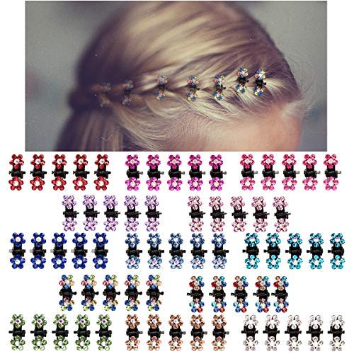 Flower Mini Claws - ANBALA Baby Hair Claw Clips, 65pcs Mini Hair Clips Mix Colored Flower Hair Accessories for baby