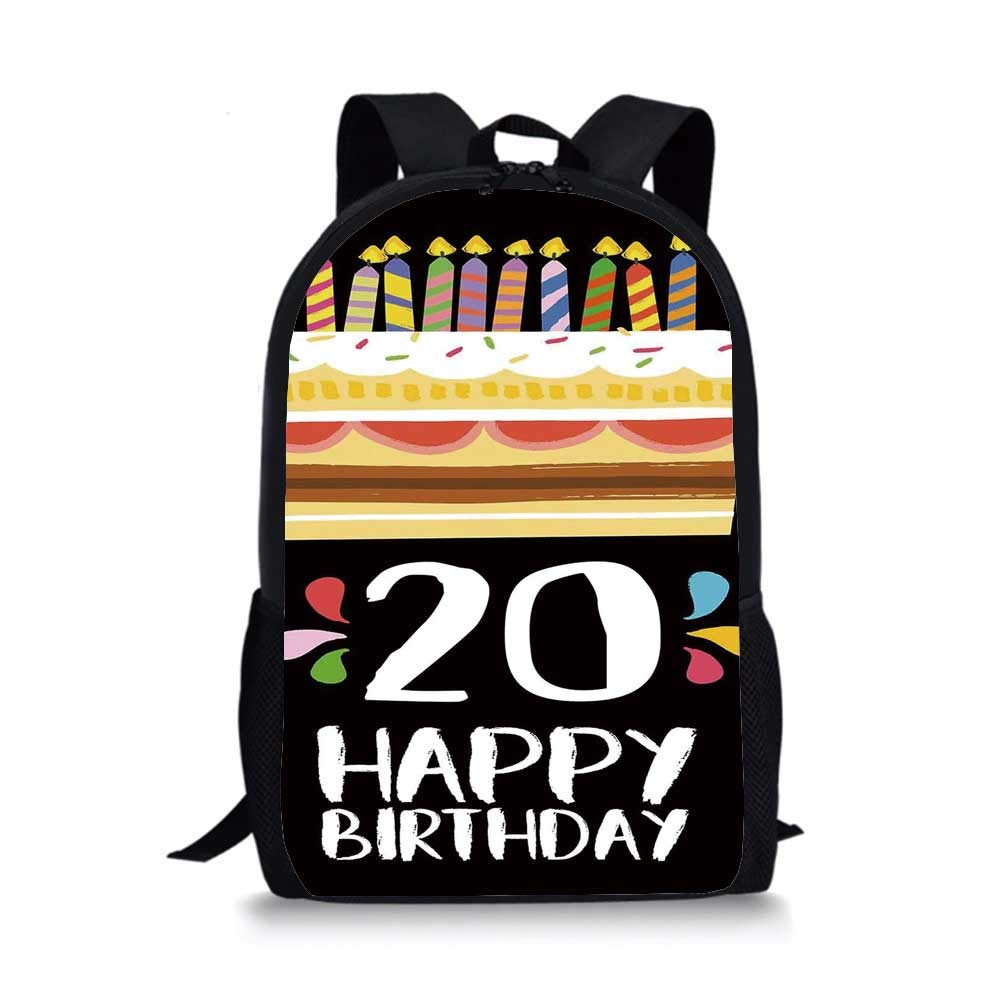 20th Birthday Decorations Individual School Bag,Vintage Cartoon Style Party Cake with Candles on Black Backdrop for Children Student,One_Size